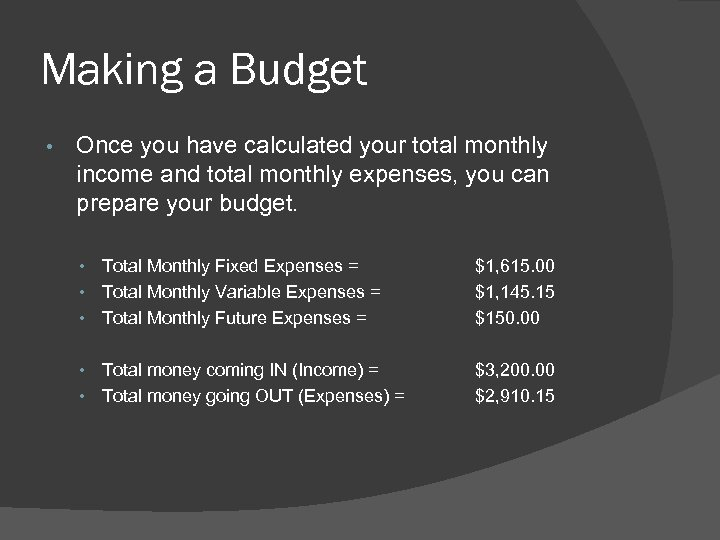 Making a Budget • Once you have calculated your total monthly income and total