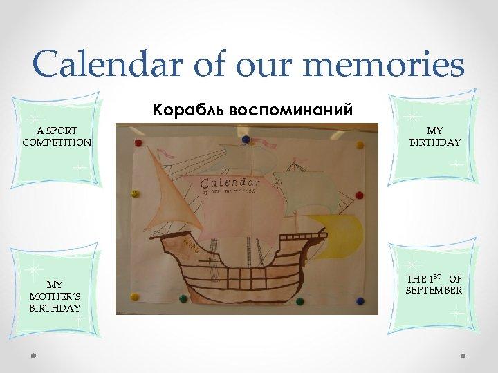 Calendar of our memories Корабль воспоминаний A SPORT COMPETITION MY MOTHER'S BIRTHDAY MY BIRTHDAY