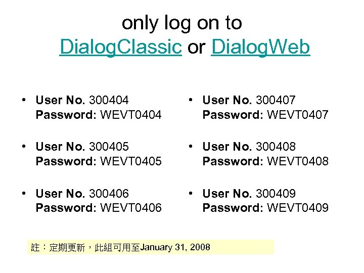 only log on to Dialog. Classic or Dialog. Web • User No. 300404 Password: