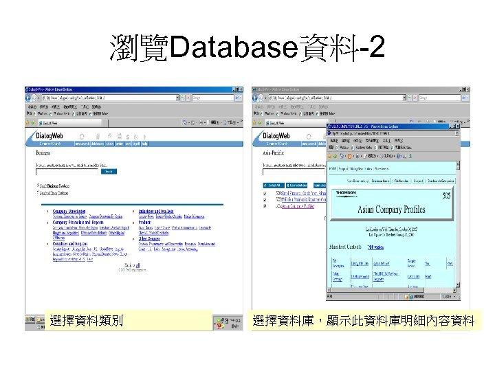 瀏覽Database資料-2 選擇資料類別 選擇資料庫,顯示此資料庫明細內容資料