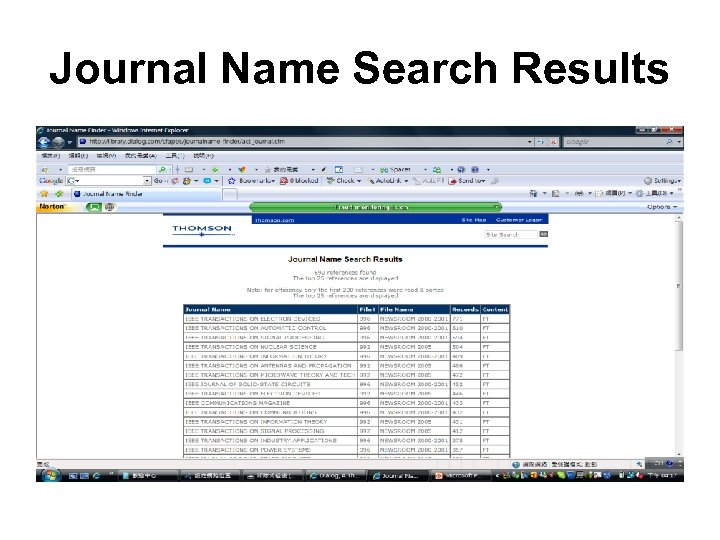 Journal Name Search Results