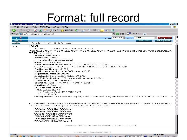 Format: full record