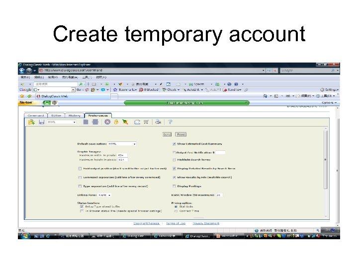 Create temporary account