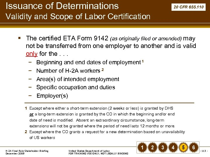 Issuance of Determinations 20 CFR 655. 110 Validity and Scope of Labor Certification §