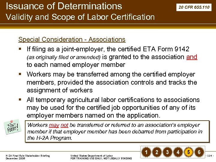 Issuance of Determinations 20 CFR 655. 110 Validity and Scope of Labor Certification Special