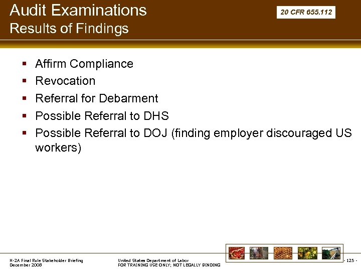 Audit Examinations 20 CFR 655. 112 Results of Findings § § § Affirm Compliance
