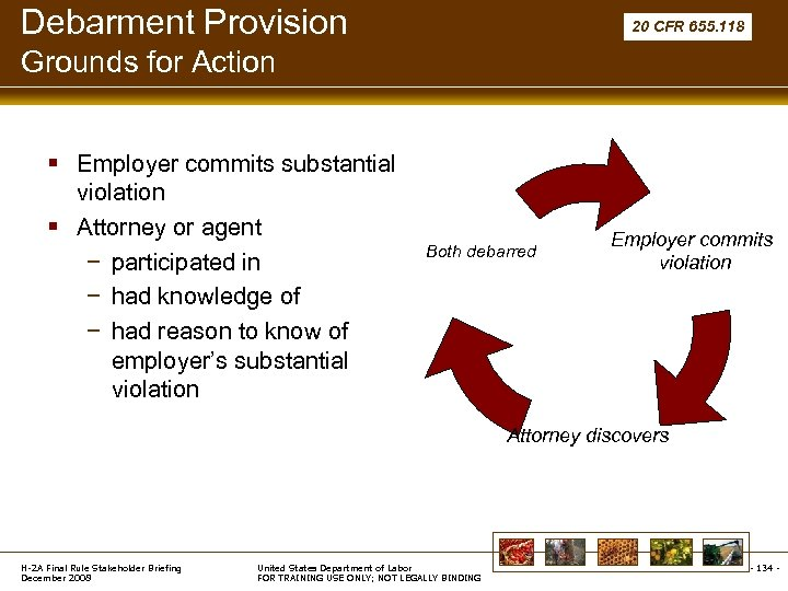 Debarment Provision 20 CFR 655. 118 Grounds for Action § Employer commits substantial violation