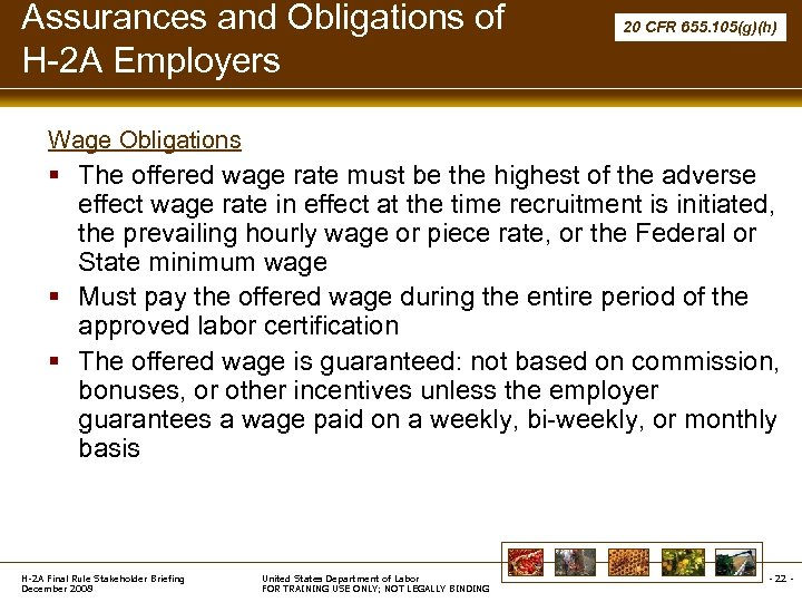 Assurances and Obligations of H-2 A Employers 20 CFR 655. 105(g)(h) Wage Obligations §