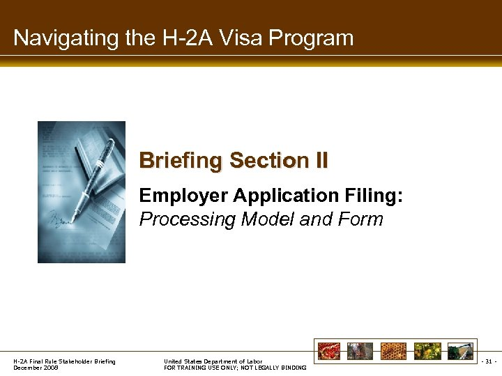 Navigating the H-2 A Visa Program Briefing Section II Employer Application Filing: Processing Model