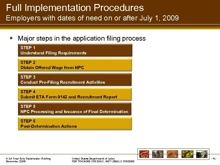 Full Implementation Procedures Employers with dates of need on or after July 1, 2009