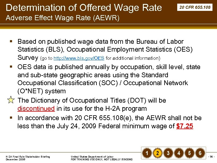 Determination of Offered Wage Rate 20 CFR 655. 108 Adverse Effect Wage Rate (AEWR)