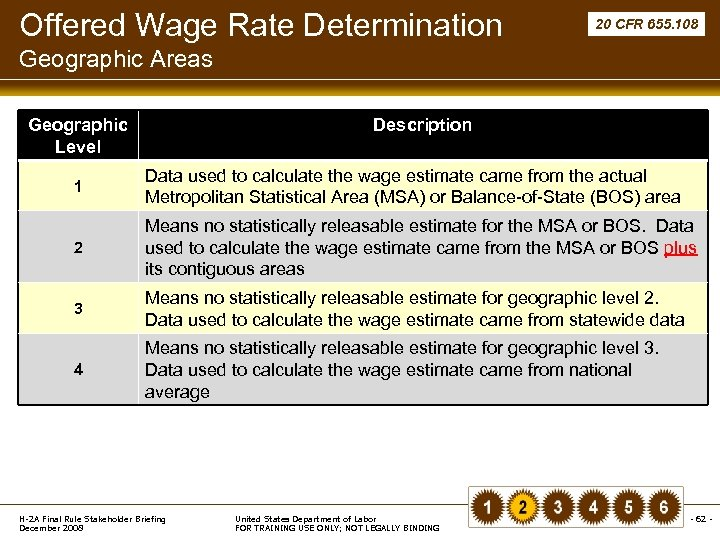 Offered Wage Rate Determination 20 CFR 655. 108 Geographic Areas Geographic Level Description 1