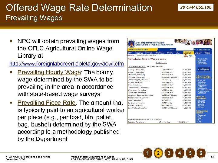 Offered Wage Rate Determination 20 CFR 655. 108 Prevailing Wages § NPC will obtain