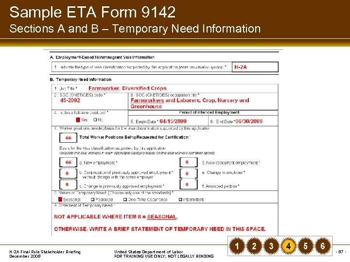 Sample ETA Form 9142 Sections A and B – Temporary Need Information H-2 A