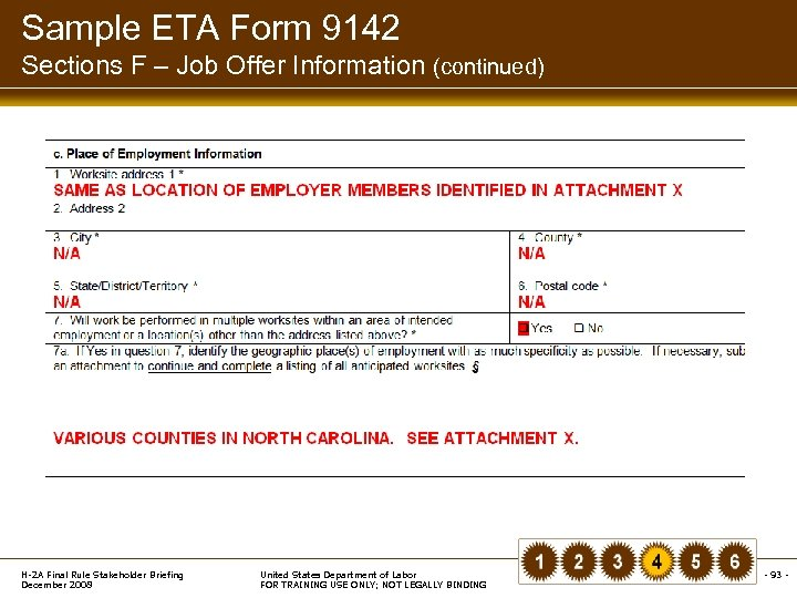 Sample ETA Form 9142 Sections F – Job Offer Information (continued) H-2 A Final