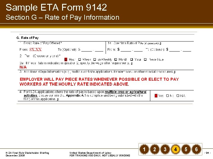 Sample ETA Form 9142 Section G – Rate of Pay Information H-2 A Final