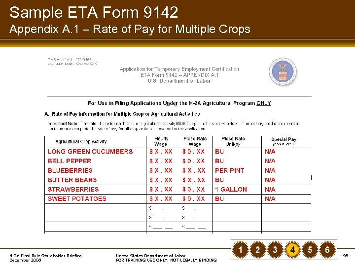 Sample ETA Form 9142 Appendix A. 1 – Rate of Pay for Multiple Crops