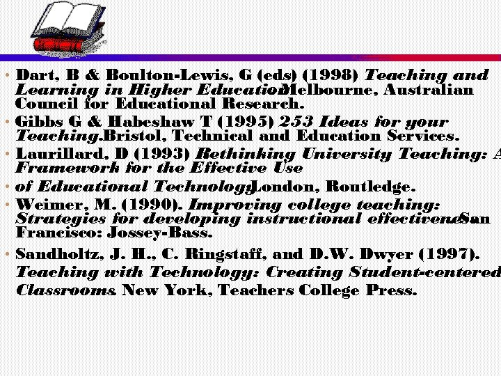 • Dart, B & Boulton-Lewis, G (eds) (1998) Teaching and Learning in Higher