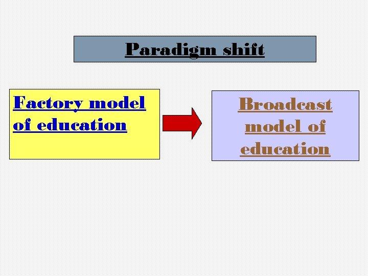 Paradigm shift Factory model of education Broadcast model of education