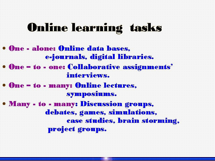 Online learning tasks One - alone: Online data bases, e-journals, digital libraries. One –