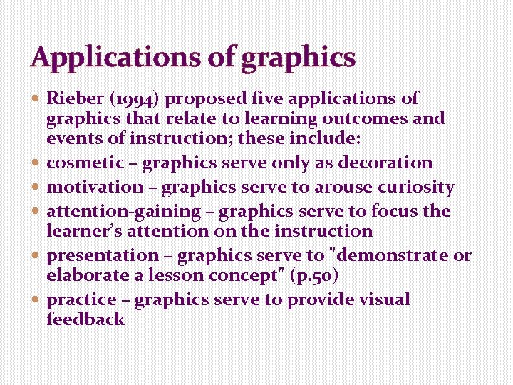 Applications of graphics Rieber (1994) proposed five applications of graphics that relate to learning