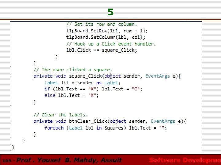 5 109 - Prof. Yousef B. Mahdy, Assuit Software Developmen Software Developme