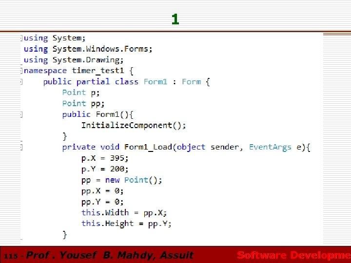 1 115 - Prof. Yousef B. Mahdy, Assuit Software Developmen Software Developme