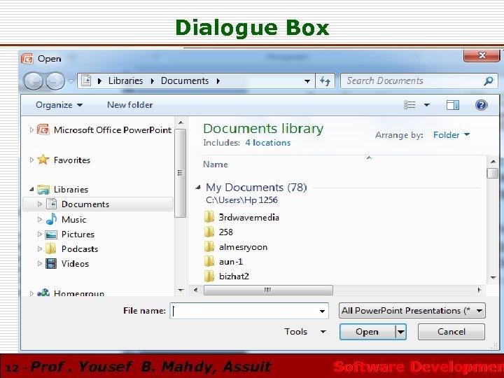 Dialogue Box 12 - Prof. Yousef B. Mahdy, Assuit Software Developmen