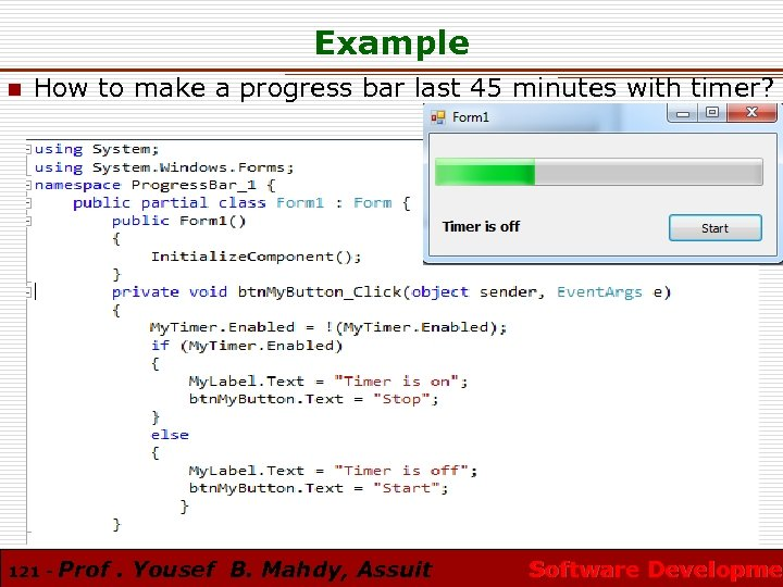 Example n How to make a progress bar last 45 minutes with timer? 121
