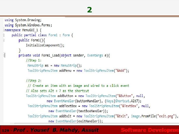 2 129 - Prof. Yousef B. Mahdy, Assuit Software Developmen Software Developme