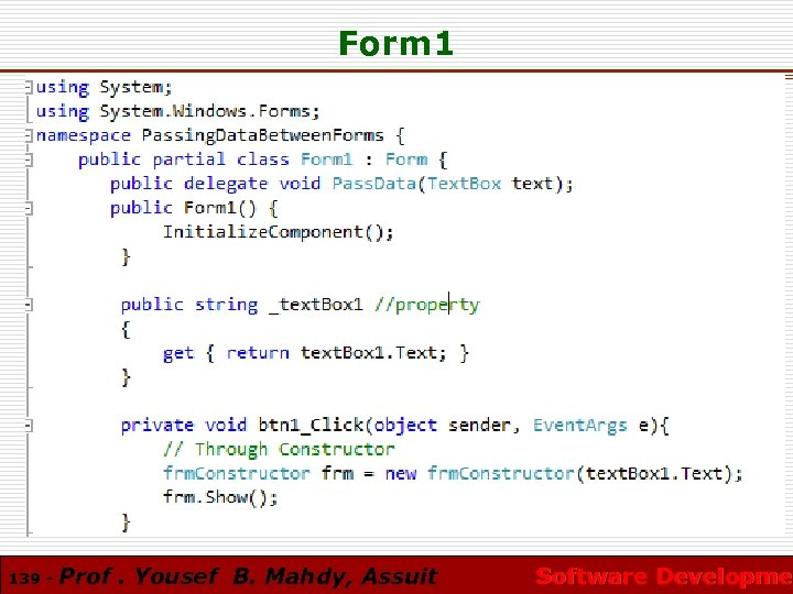 Form 1 139 - Prof. Yousef B. Mahdy, Assuit Software Developmen Software Developme