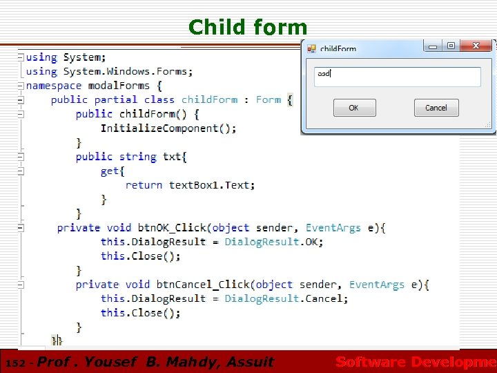 Child form 152 - Prof. Yousef B. Mahdy, Assuit Software Developmen Software Developme