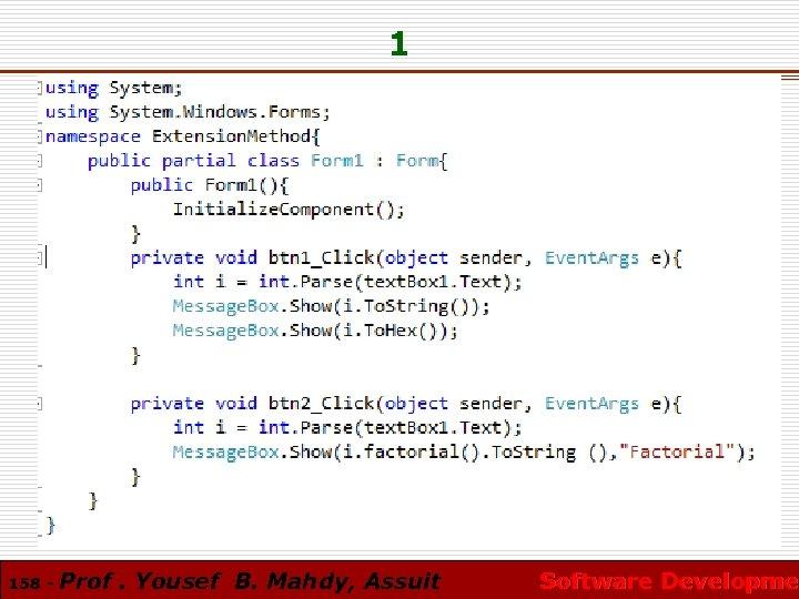 1 158 - Prof. Yousef B. Mahdy, Assuit Software Developmen Software Developme