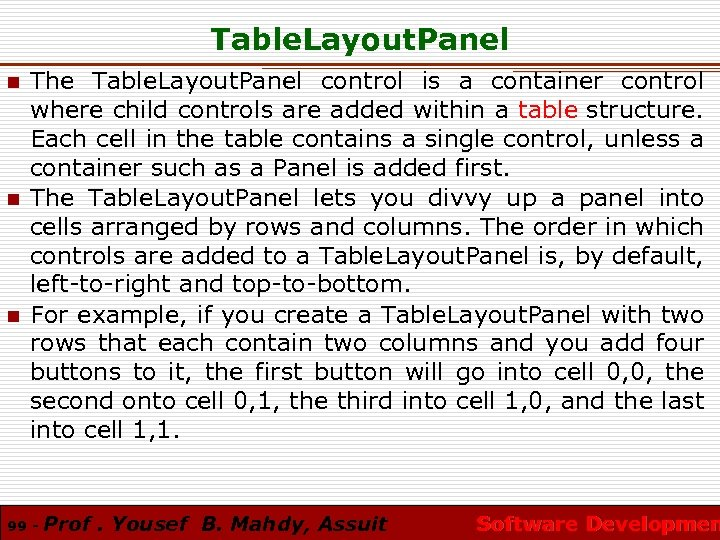 Table. Layout. Panel n n n The Table. Layout. Panel control is a container