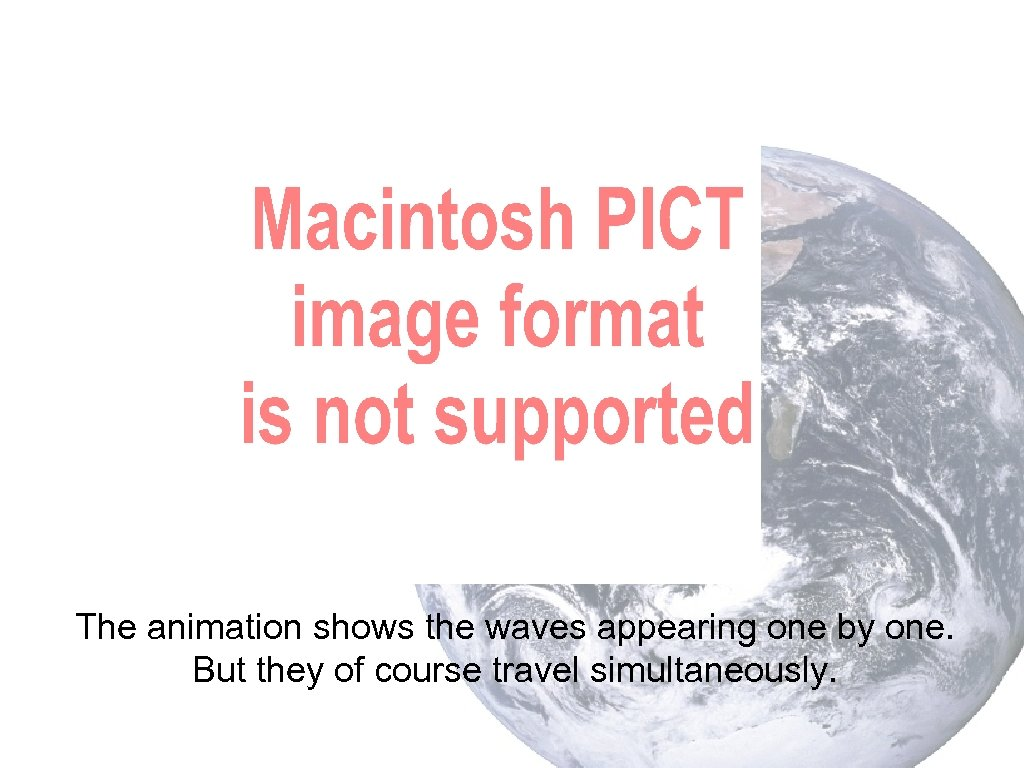 The animation shows the waves appearing one by one. But they of course travel