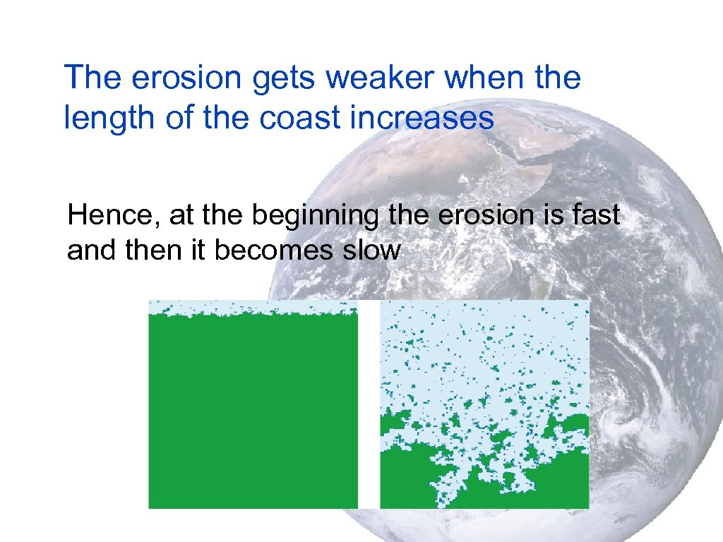 The erosion gets weaker when the length of the coast increases Hence, at the