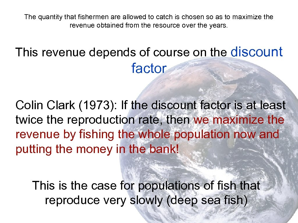 The quantity that fishermen are allowed to catch is chosen so as to maximize
