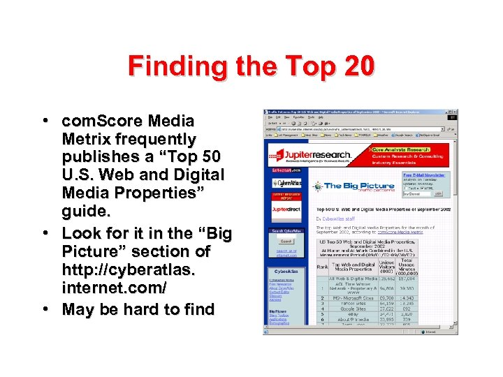 "Finding the Top 20 • com. Score Media Metrix frequently publishes a ""Top 50"