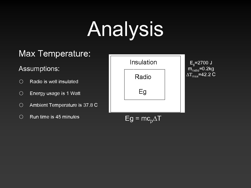 Analysis. Max Temperature: Assumptions: o o Radio is well insulated Energy usage is 1