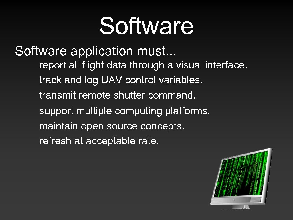 Software application must. . . report all flight data through a visual interface. track