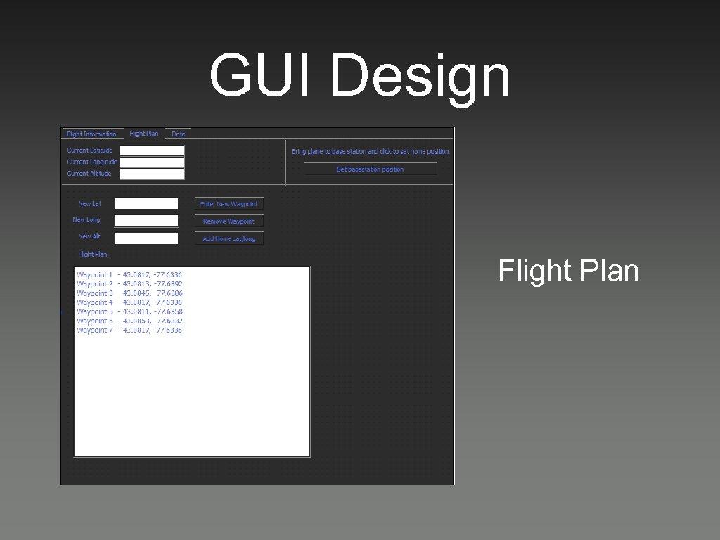 GUI Design Flight Plan