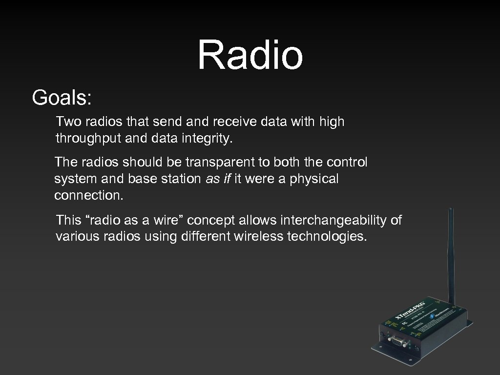 Radio Goals: Two radios that send and receive data with high throughput and data