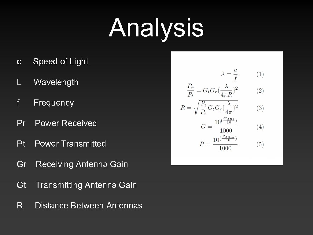 Analysis c Speed of Light L Wavelength f Frequency Pr Power Received Pt Power