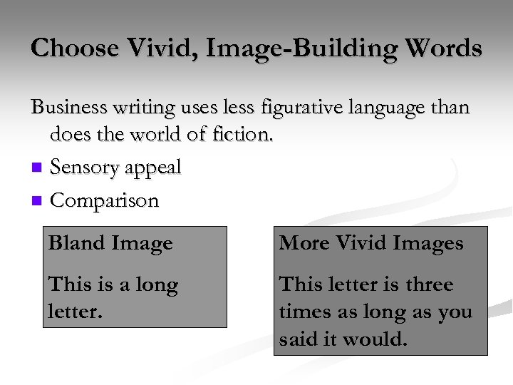 Choose Vivid, Image-Building Words Business writing uses less figurative language than does the world