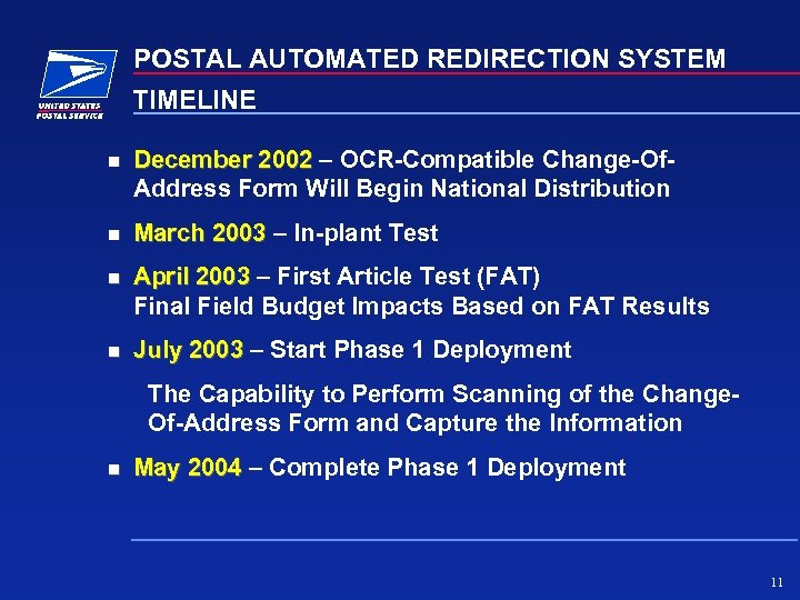 POSTAL AUTOMATED REDIRECTION SYSTEM TIMELINE December 2002 – OCR-Compatible Change-Of. Address Form Will Begin