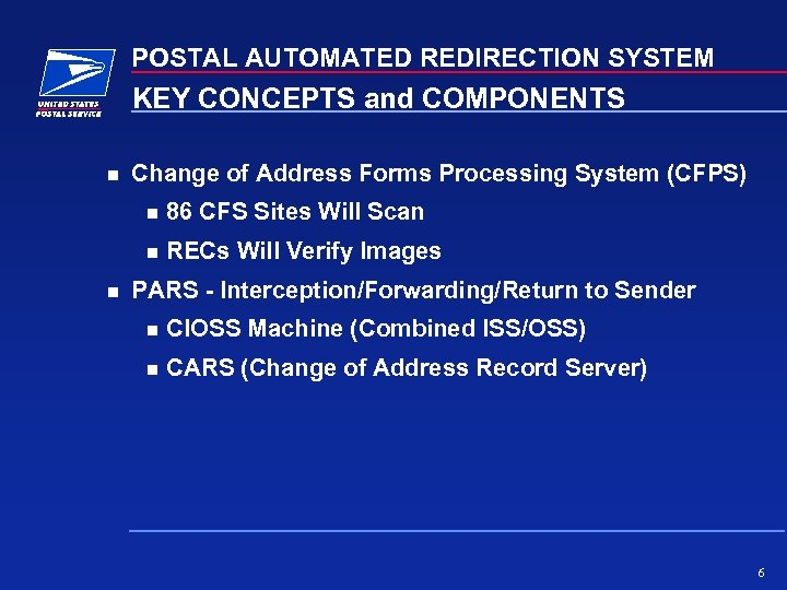 POSTAL AUTOMATED REDIRECTION SYSTEM KEY CONCEPTS and COMPONENTS Change of Address Forms Processing System