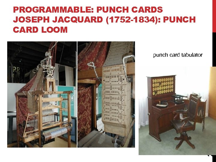 PROGRAMMABLE: PUNCH CARDS JOSEPH JACQUARD (1752 -1834): PUNCH CARD LOOM 26 punch card tabulator