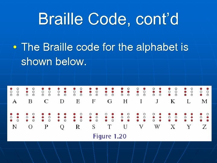 Braille Code, cont'd • The Braille code for the alphabet is shown below.
