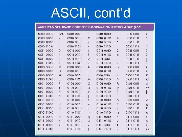 ASCII, cont'd