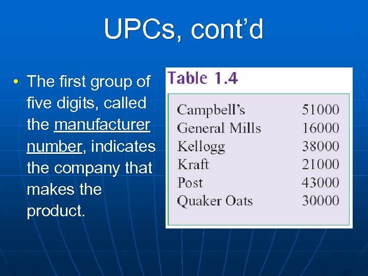 UPCs, cont'd • The first group of five digits, called the manufacturer number, indicates